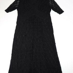 Alfani Women Black Midi Dress 1/2 sleeves Size Lar